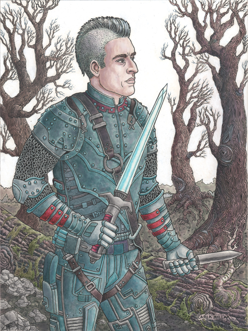 Man with futuristic sword in forest